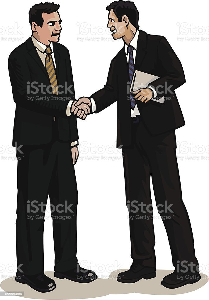 Businessmen shaking hands in agreement royalty-free stock vector art