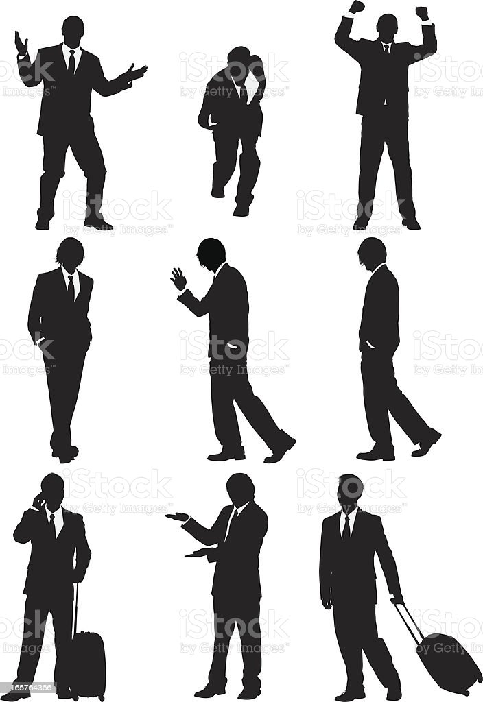 Businessmen silhouettes vector art illustration