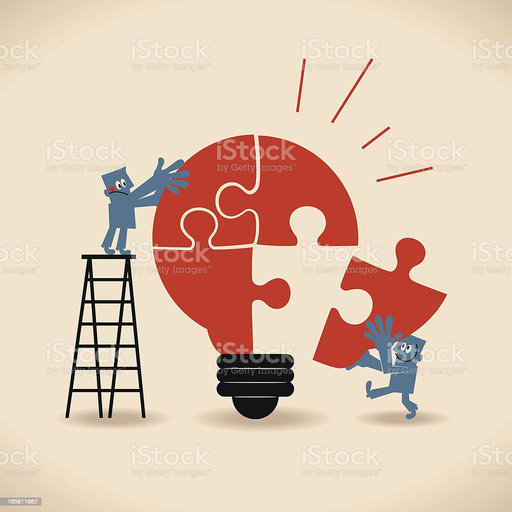 Businessmen standing on ladder, completing an idea light bulb puzzle vector art illustration