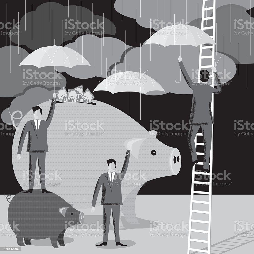Businessmen Standing On Top of a Piggybank Holding an Umbrella vector art illustration
