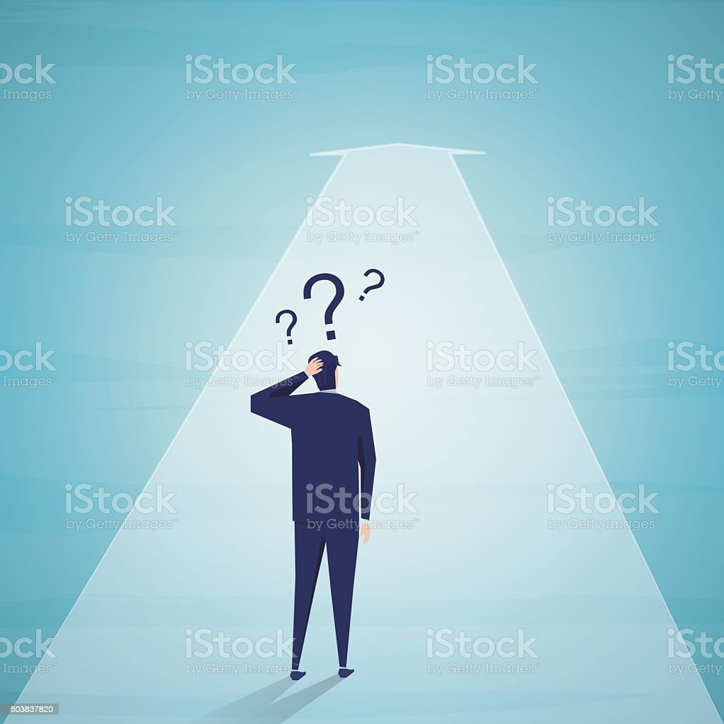 Businessmen standing to think about vector art illustration