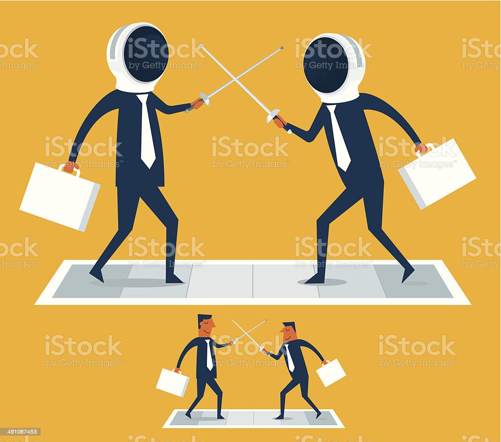 Businessmen Sword Fighting vector art illustration