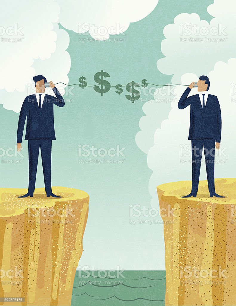 Businessmen Talking About Money With Tin Can Telephones vector art illustration