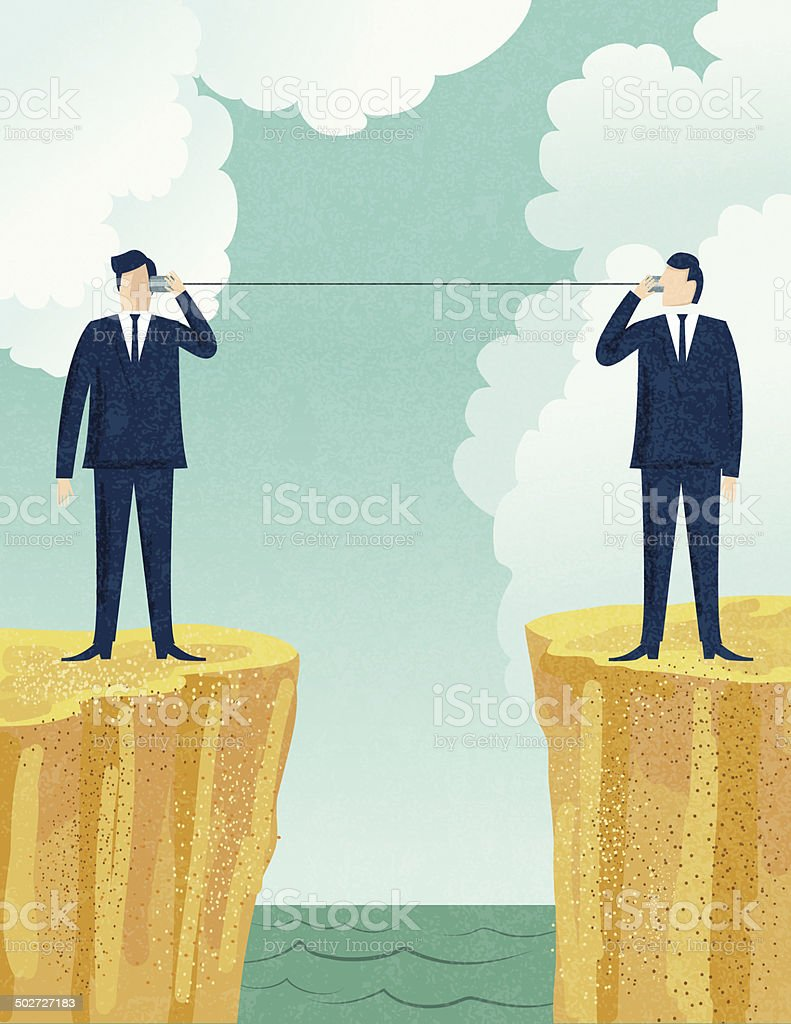 Businessmen Talking With Tin Can Telephones vector art illustration