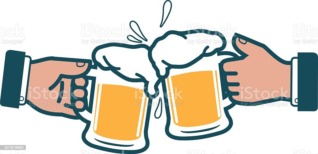 Businessmen toasting with beer vector art illustration