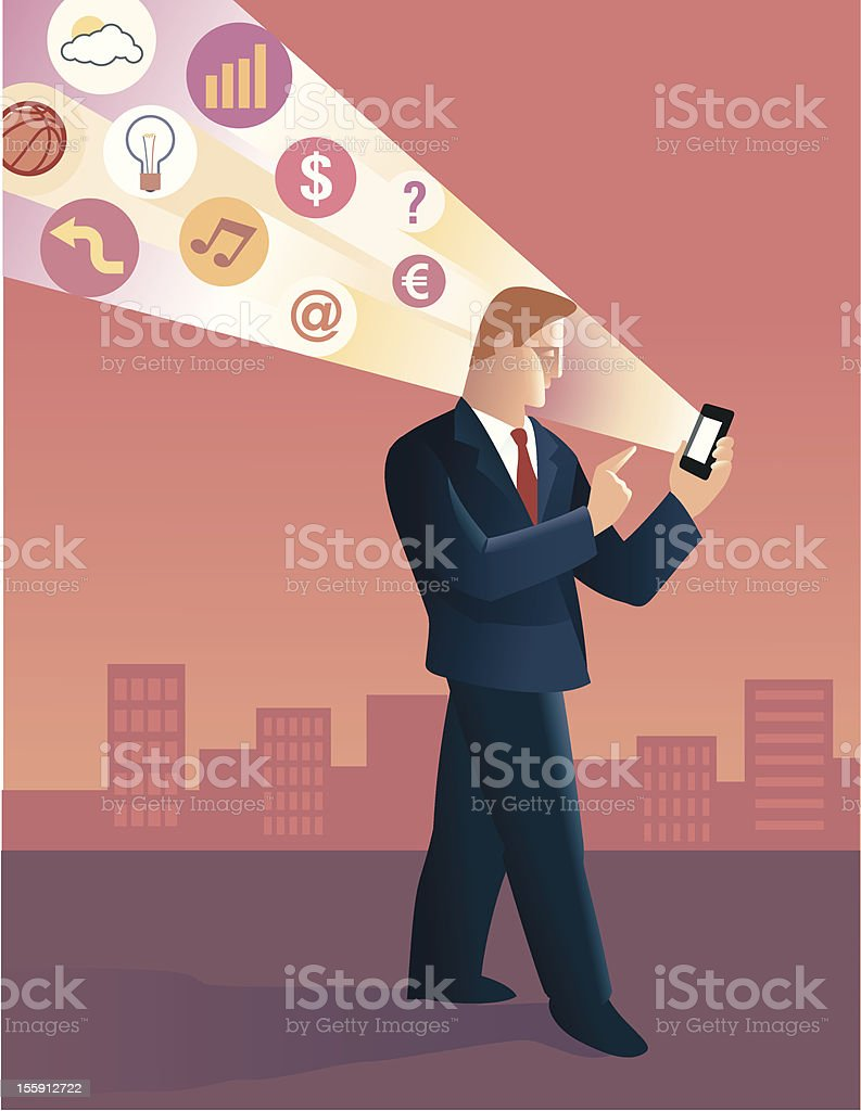Businessmen using a smartphone royalty-free stock vector art