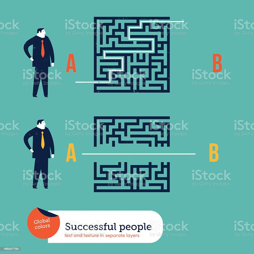 Businessmen using different ways to go out of a maze vector art illustration