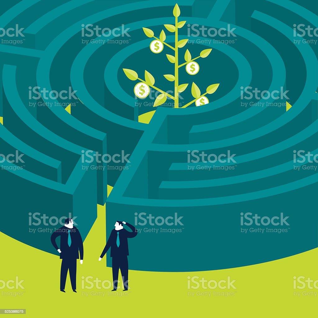 Businessmen wanting to enter a money plant maze vector art illustration