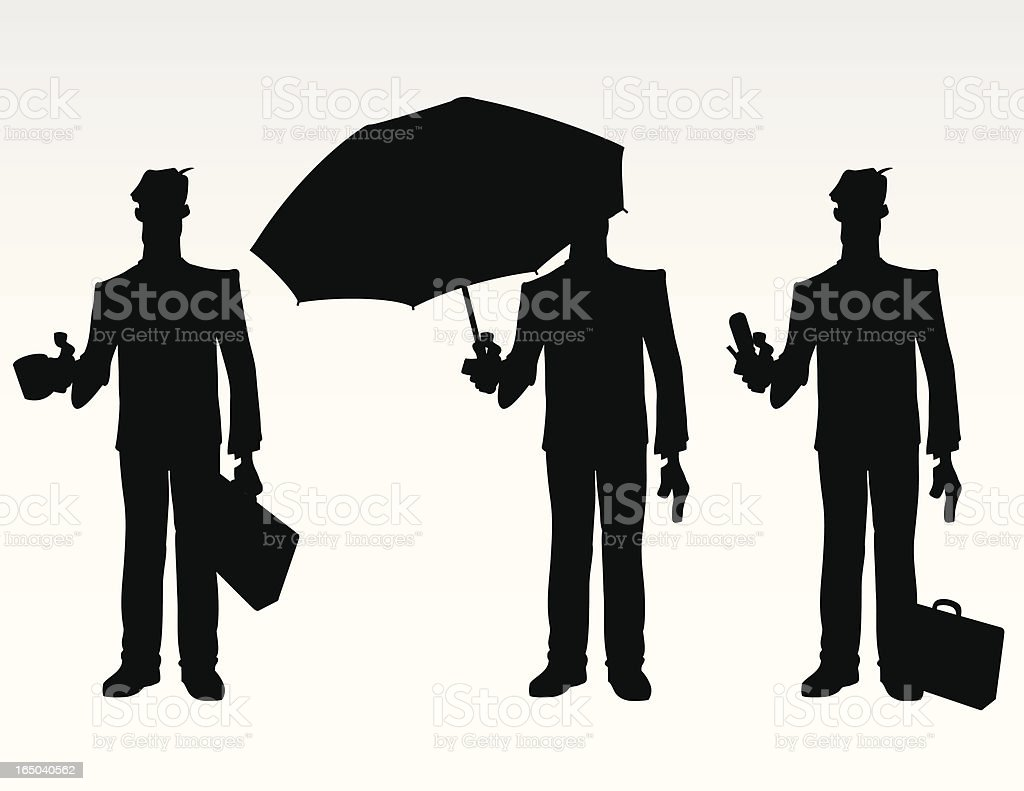 Businessmen with Accessories Silhouette vector art illustration