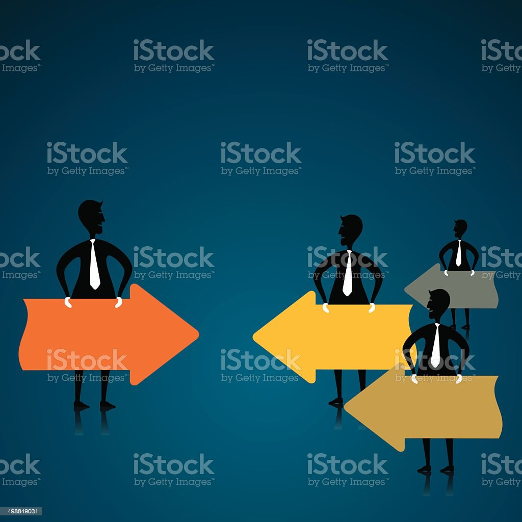 businessmen with arrow banner royalty-free stock vector art
