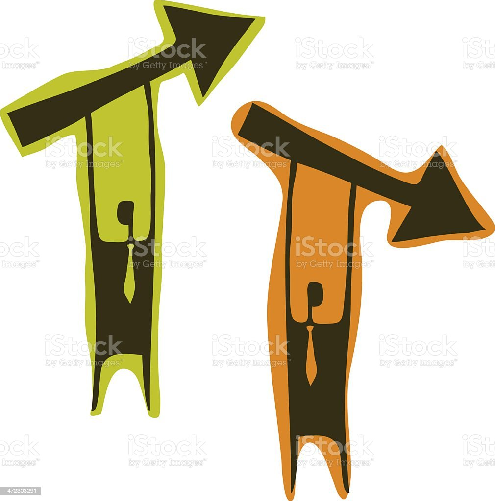Businessmen with Arrows royalty-free stock vector art