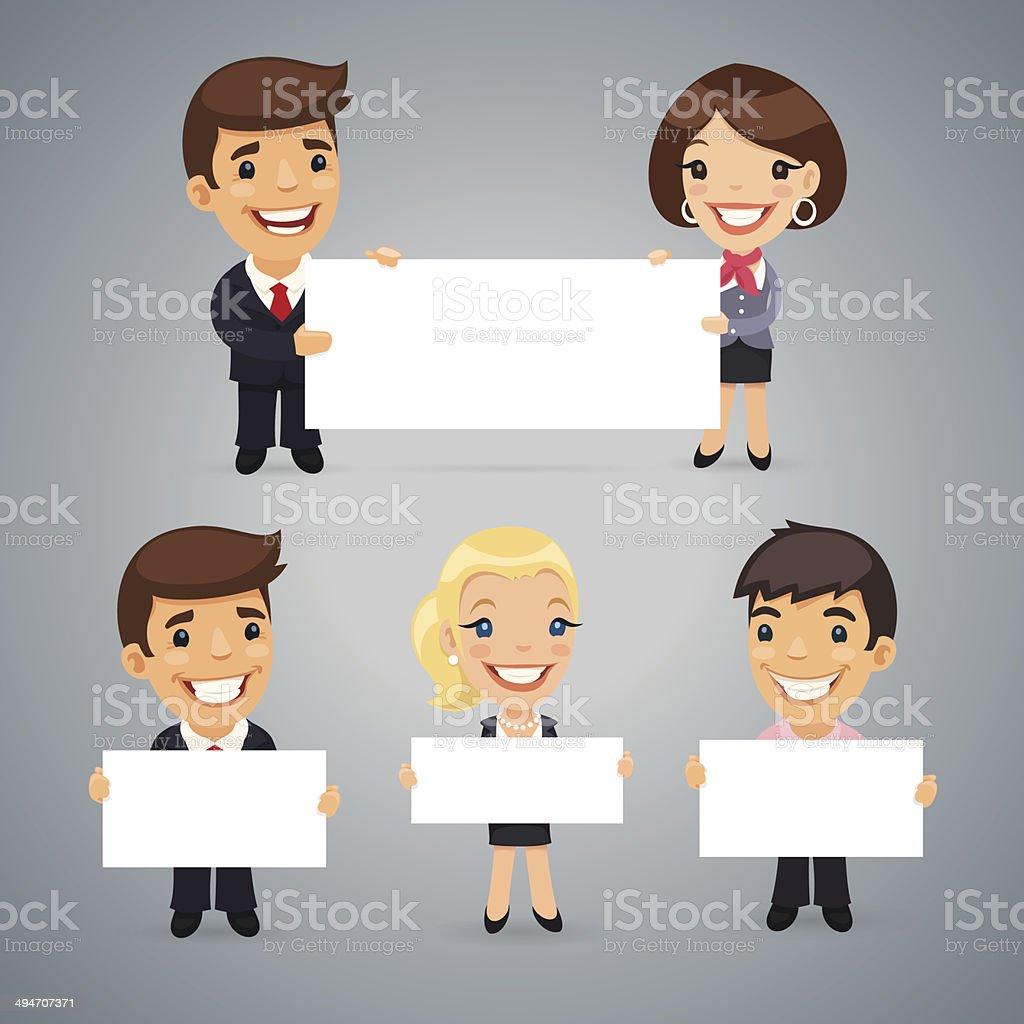 Businessmen With Blank Placard vector art illustration