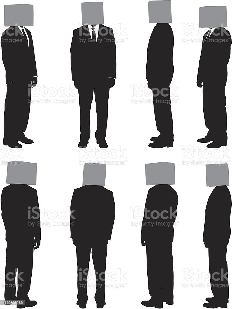 Businessmen with covered faces royalty-free stock vector art