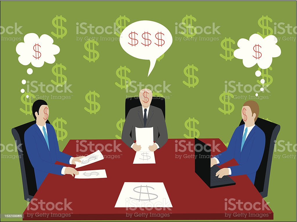 Businessmen with dollar sign faces royalty-free stock vector art