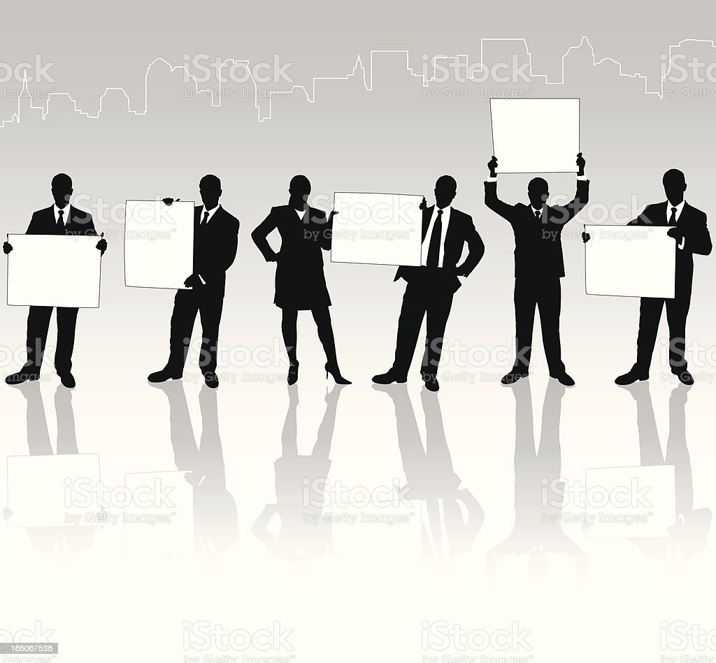 Businessmen with Sign Reflection Series vector art illustration
