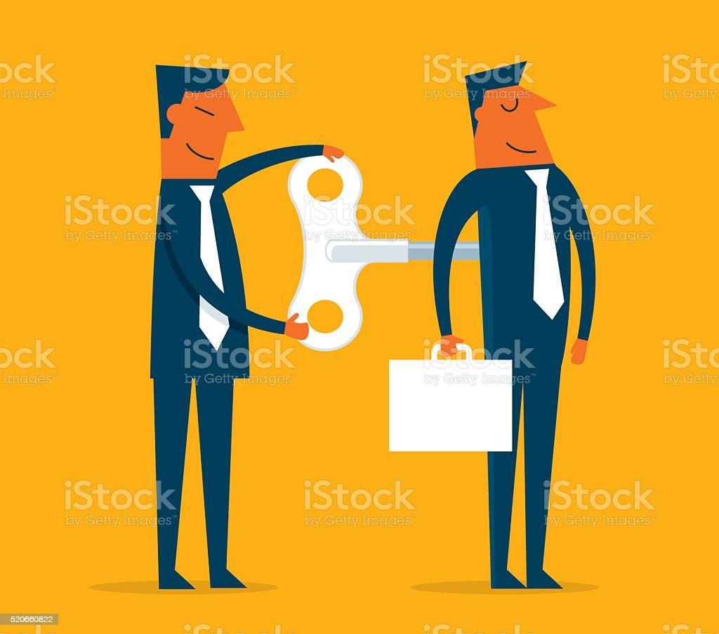 Businessmen with wind-up key vector art illustration
