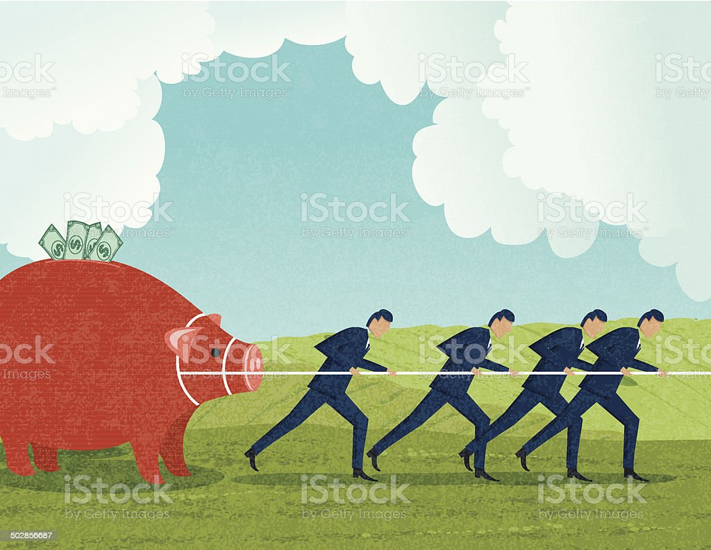 Businessmen Working For Their Investment vector art illustration