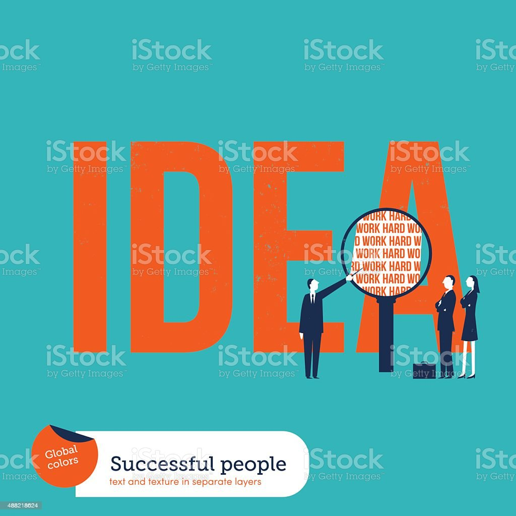Businesspeople analyzing the ingredients of an idea: hard work vector art illustration