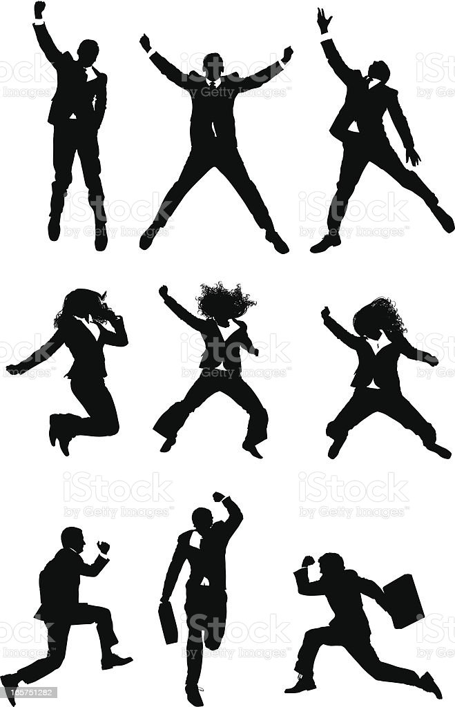 Businesspeople celebration jumps vector art illustration