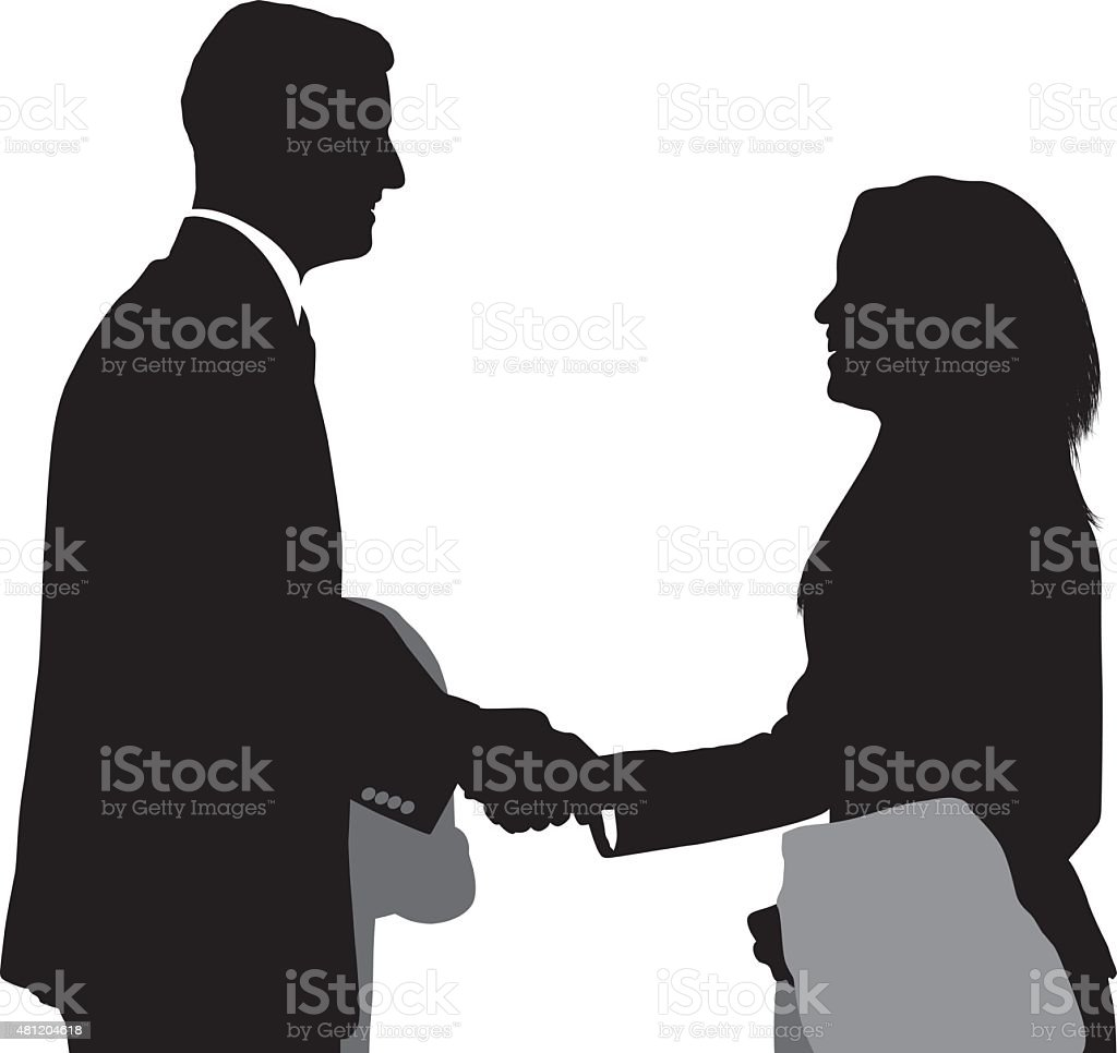 Businesspeople giving handshake vector art illustration