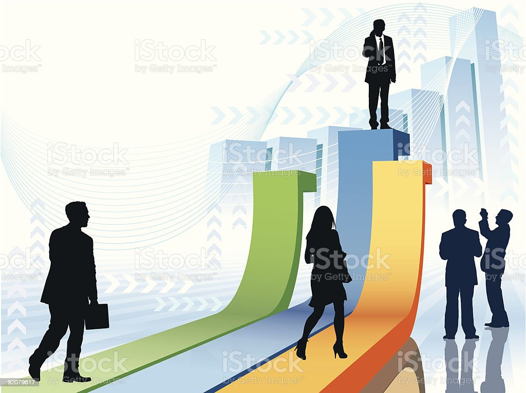 Businesspeople in a hurry royalty-free stock vector art