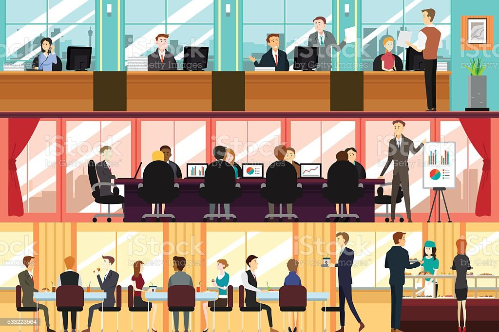 Businesspeople in an Office vector art illustration