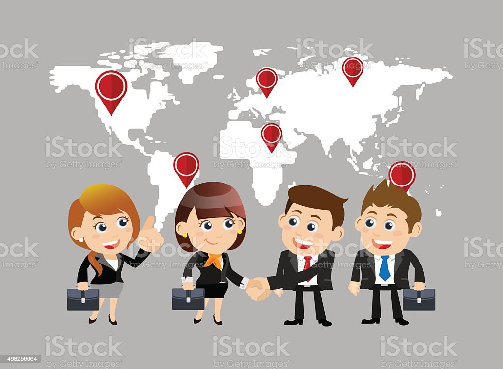 Businesspeople in cooperation  and partnership concept vector art illustration