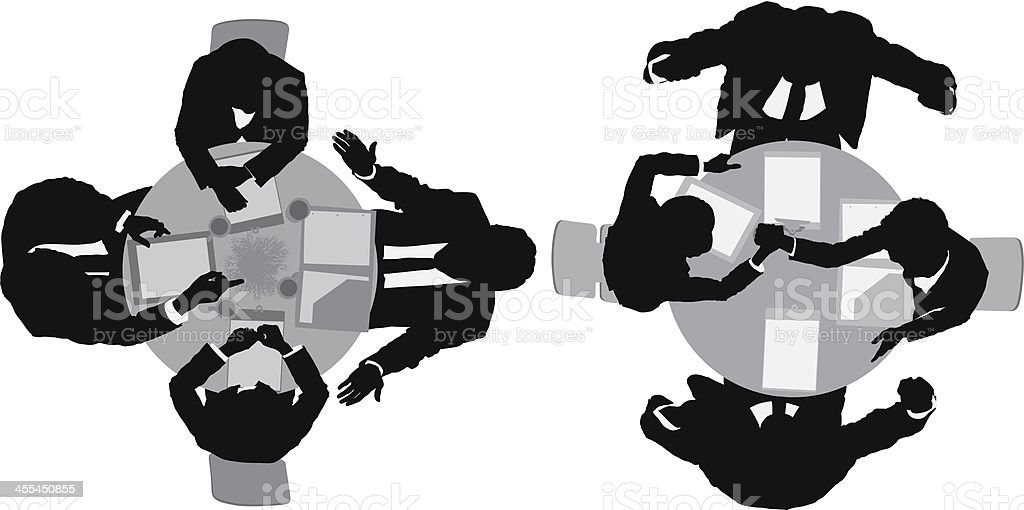 Businesspeople in round table conference royalty-free stock vector art