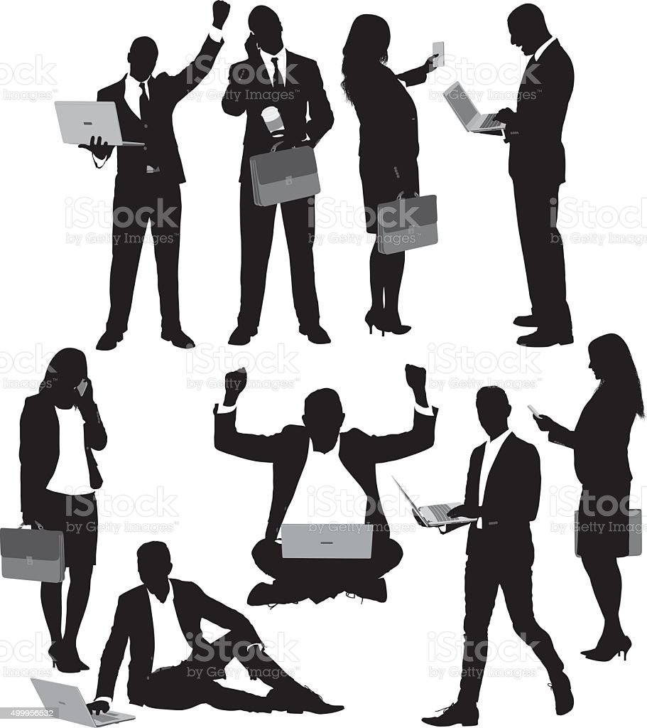 Businesspeople in various actions vector art illustration