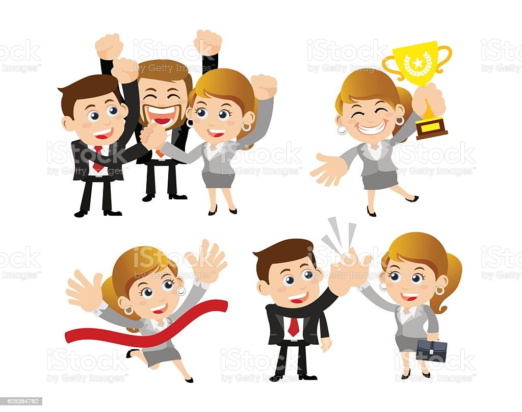Businesspeople in victory, celebration  and partnership concept - vector art illustration