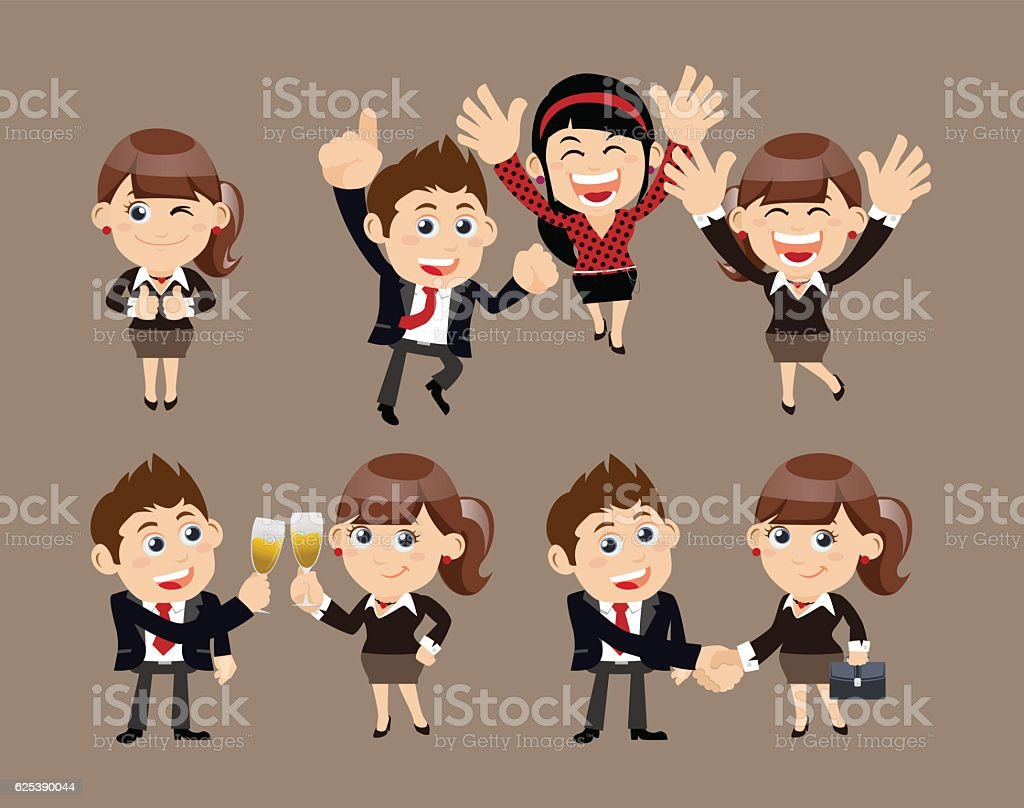 Businesspeople in victory, celebration  and partnership concept vector art illustration