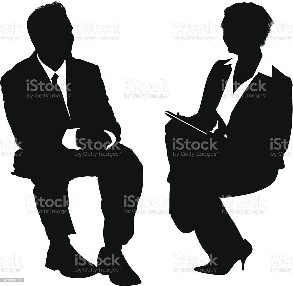 Businesspeople job interview vector art illustration