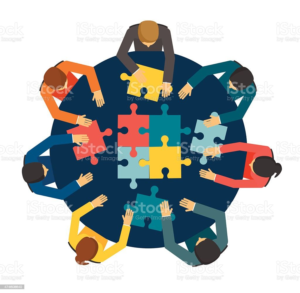 Businesspeople joining puzzle pieces vector art illustration