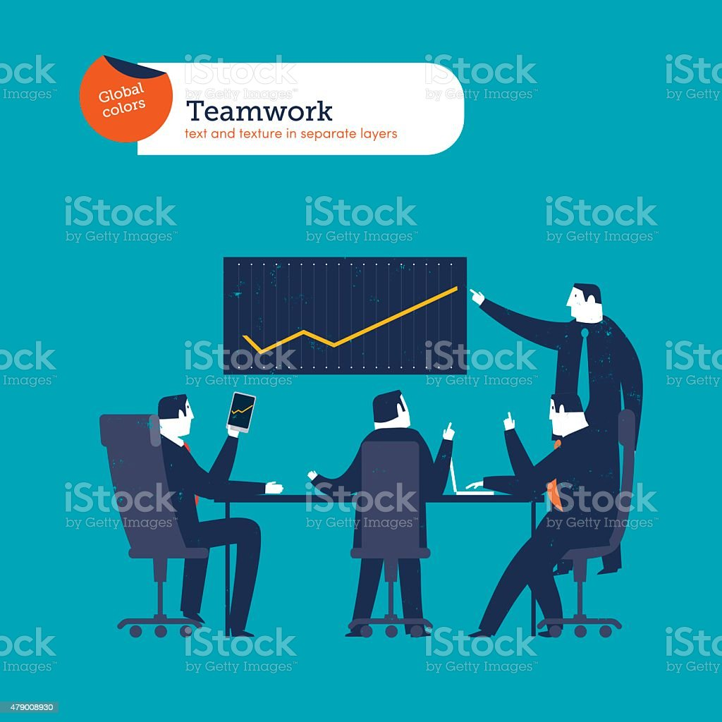 Businesspeople meeting and chart vector art illustration