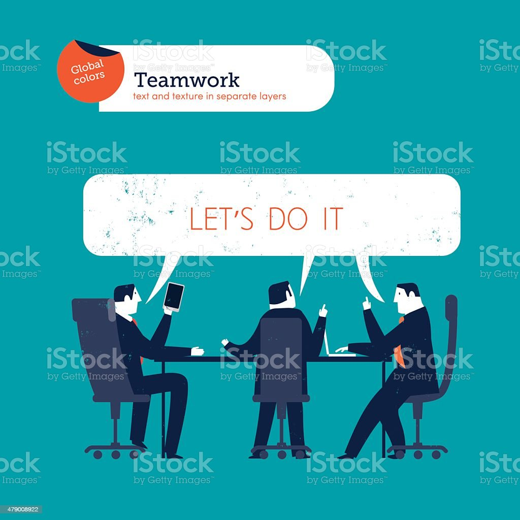 Businesspeople meeting let's do it vector art illustration