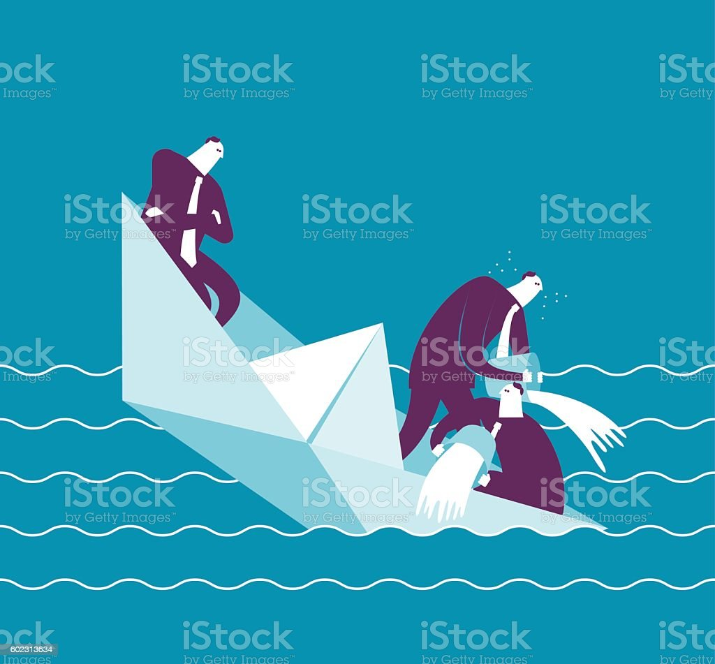 Businesspeople on a sinking boat vector art illustration