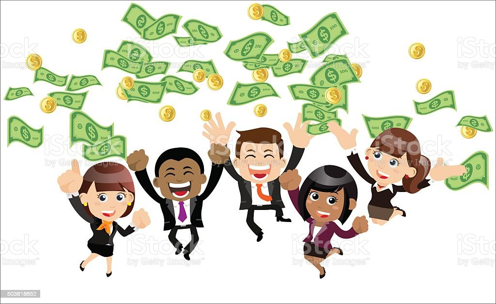 Businesspeople on pile of money cash vector art illustration