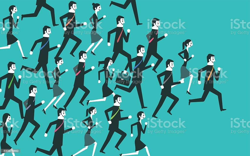 Businesspeople running vector art illustration