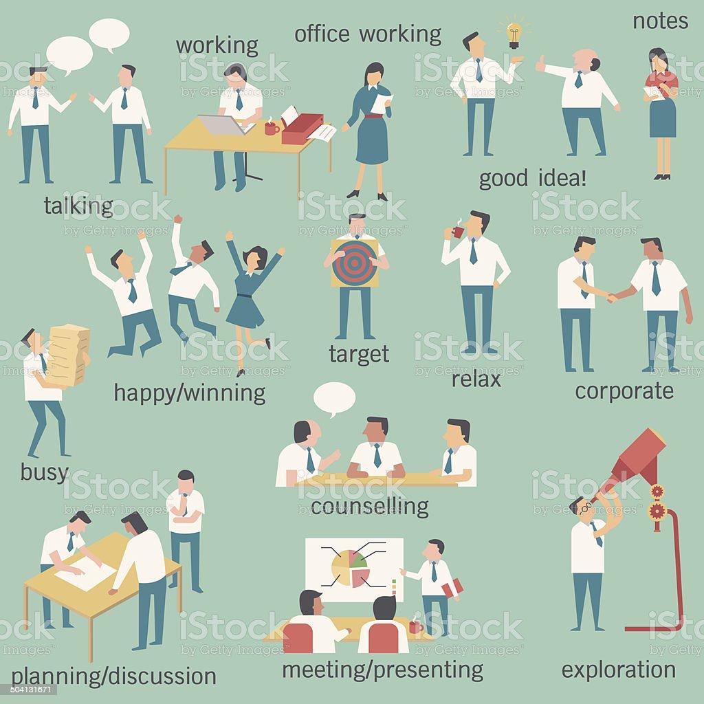 businesspeople set vector art illustration