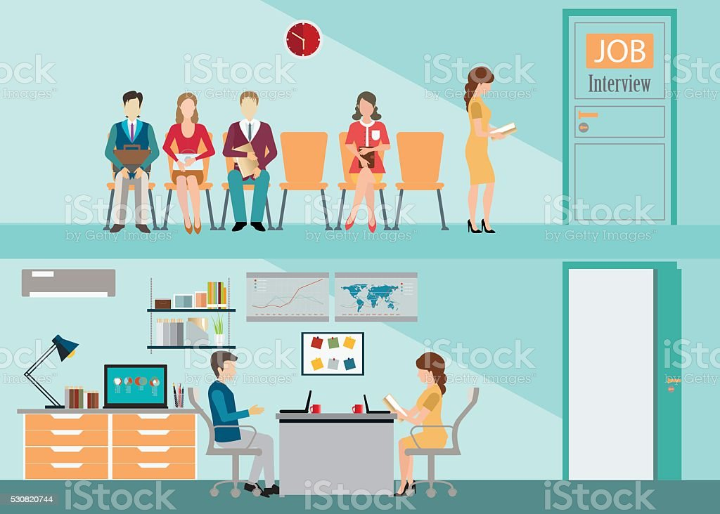 Businesspeople with files sitting on chair. vector art illustration