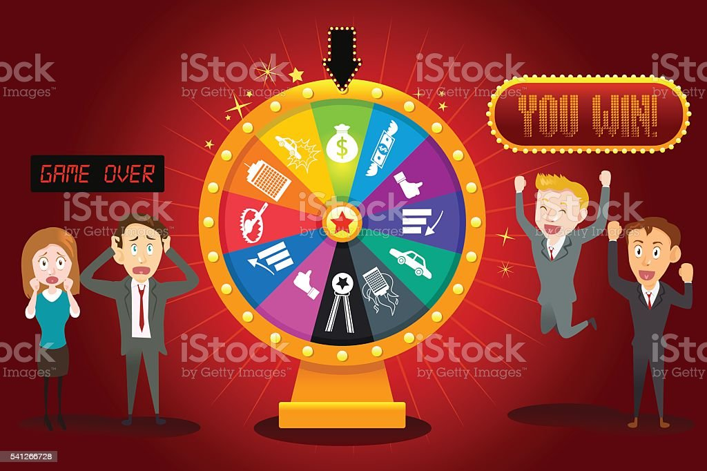 Businesspeople with Financial Wheel of Fortune vector art illustration