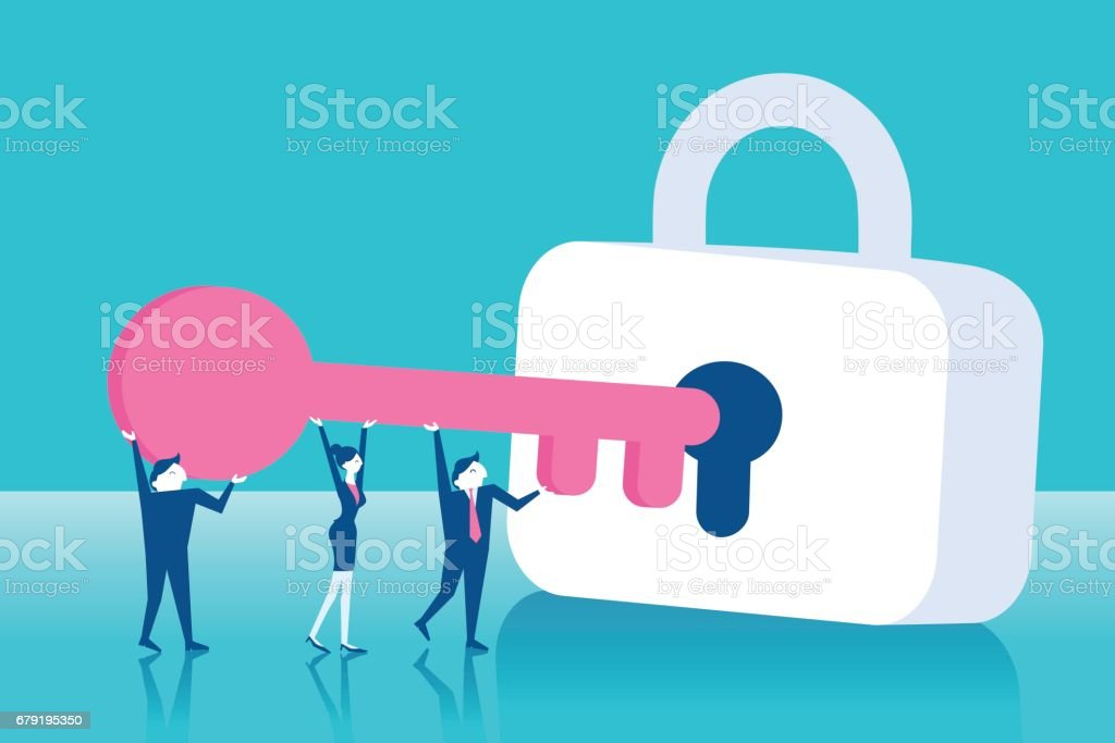 businesspeople with lock vector art illustration