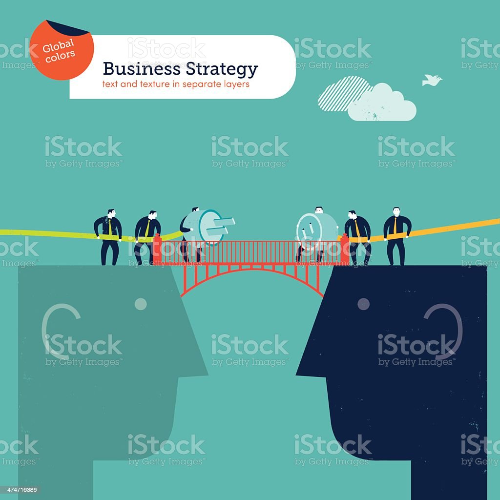 Businesspeople with plug and socket on a head's bridge vector art illustration