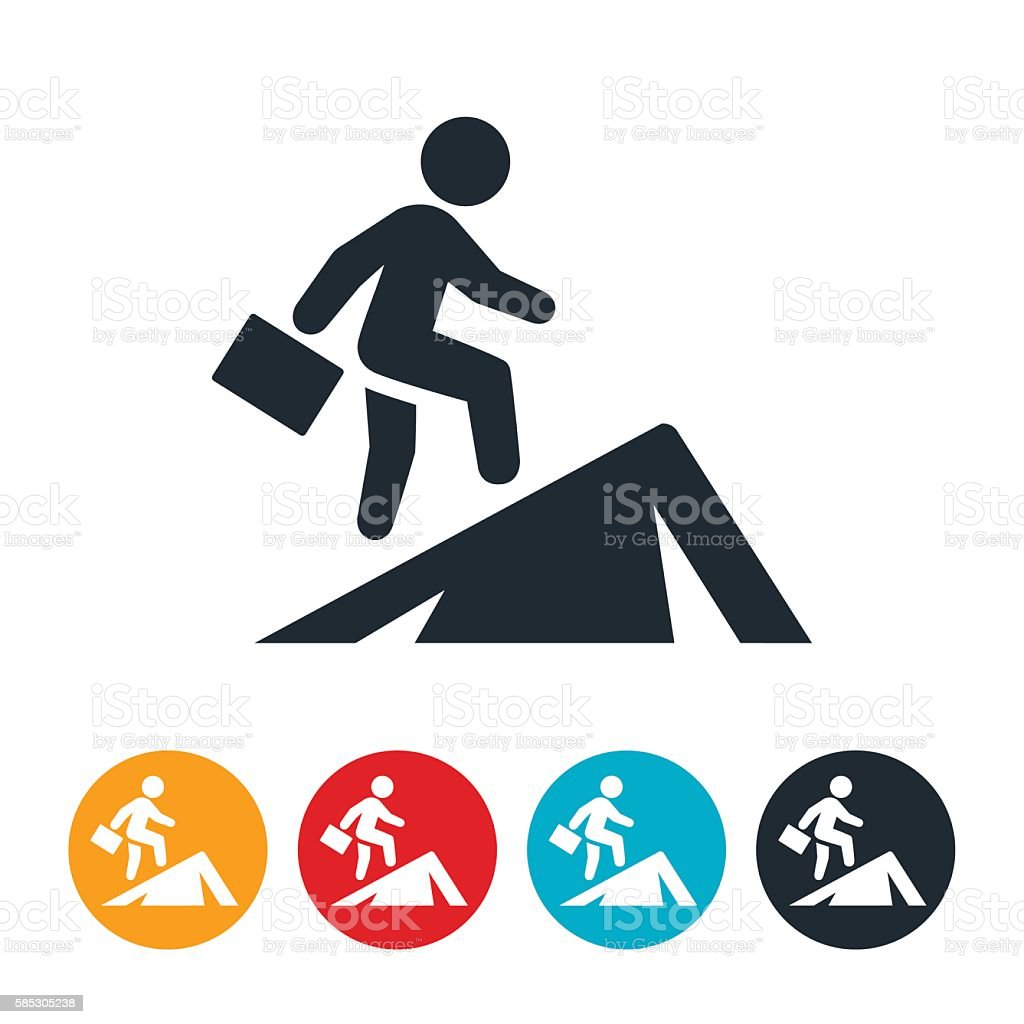Businessperson Climbing Mountain Icon vector art illustration