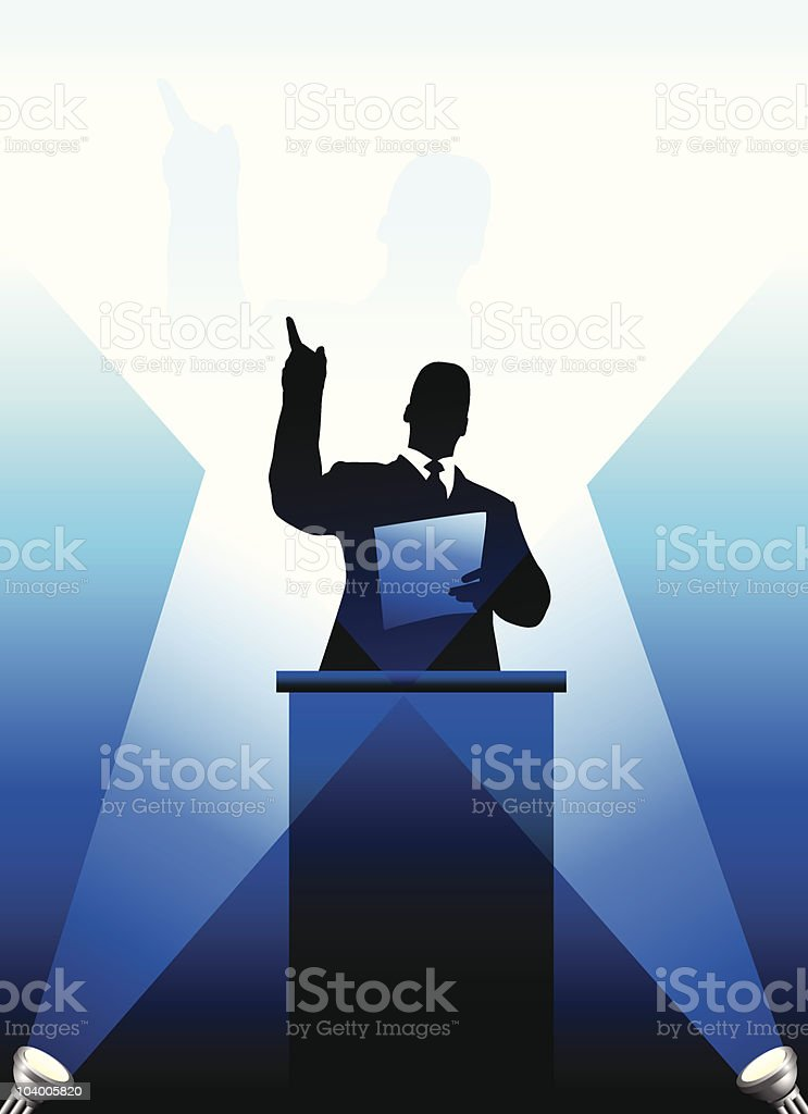 Business/political speaker silhouette royalty-free stock vector art