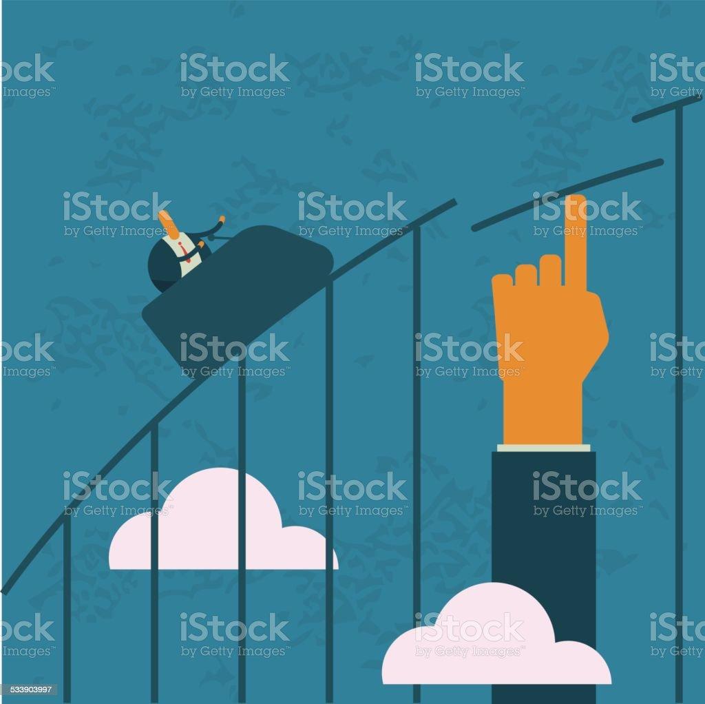 Business,roller coaster, risk, help, lift vector art illustration