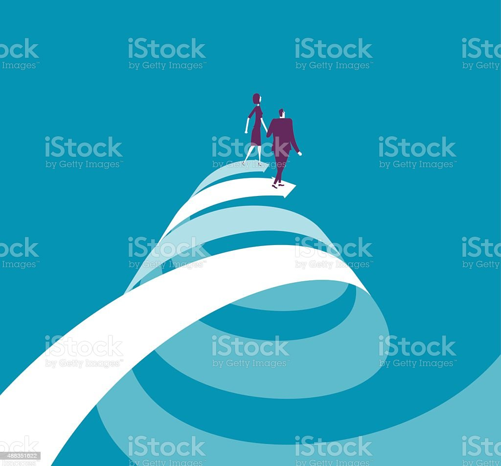 Businesswoman and businessman walking on two spiral arrows vector art illustration