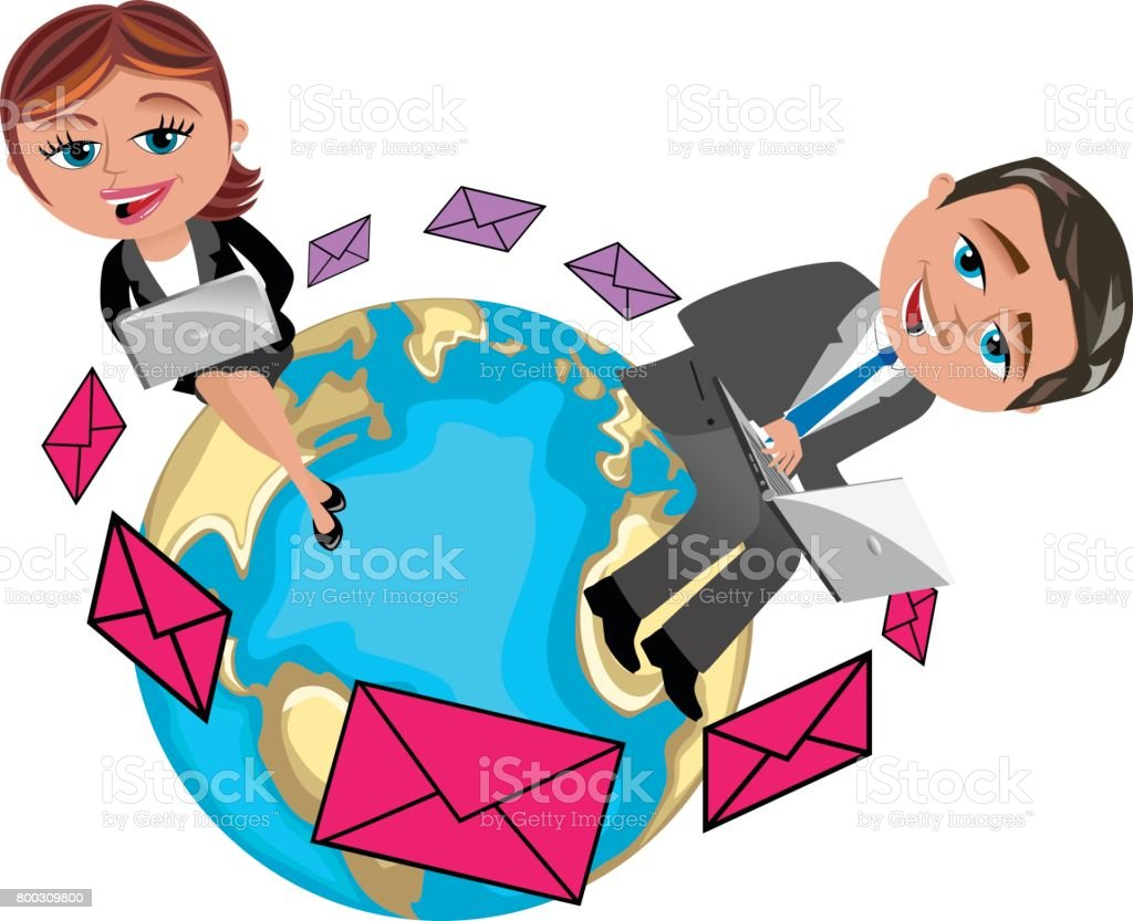 businesswoman and businessman working with laptop sitting on the world exchanging messages isolated vector art illustration