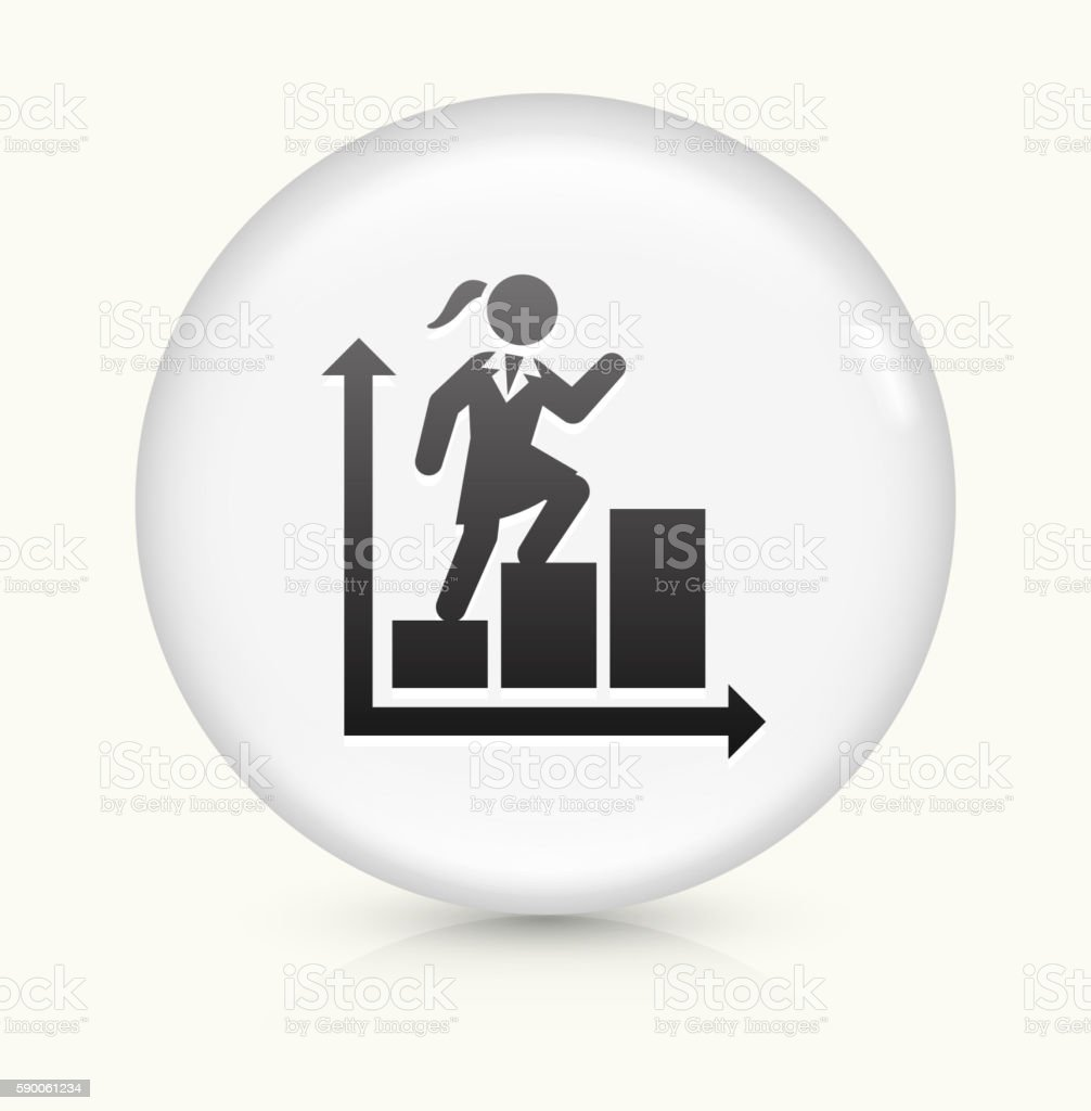 Businesswoman and Charts icon on white round vector button vector art illustration