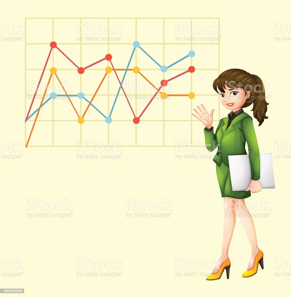 Businesswoman and line graph vector art illustration